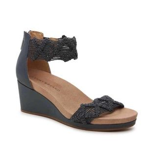 LUCKY BRAND KAYDYN WEDGE BLUE MACRAME ANKLE SHOES